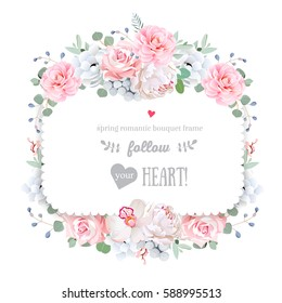 Square floral vector design frame. Orchid, peony, anemone, pink rose, brunia, camellia flowers. Wedding card on white. All elements are isolated and editable.
