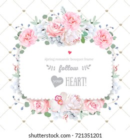 Square floral vector design frame. Orchid, peony, anemone, rose, camellia flowers. Wedding card. Simple backdrop with diagonal lines and small princess crowns. All elements are isolated and editable.