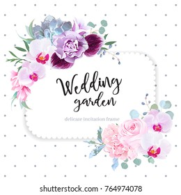 Square floral vector design frame. Purple orchid, pink rose, hydrangea, campanula flowers, carnation, succulent, green eucalyptus. Wedding card. Simple backdrop with polka dots