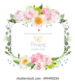 Square floral vector frame with peony, wild rose, carnation, orchid, eucalyptus and green hydrangea on white. White and pink flowers. Invitation card.