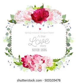 Square floral vector frame with peony, rose, carnation, orchid, hydrangea and eucalyptus. White, burgundy red and pink flowers. Invitation card. All elements are isolated and editable.