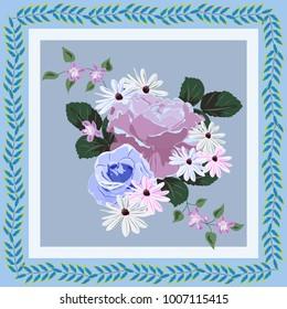 Square flower arrangement. Pattern for printing on scarves, postcards, carpets, bandanas, napkins, home textiles.