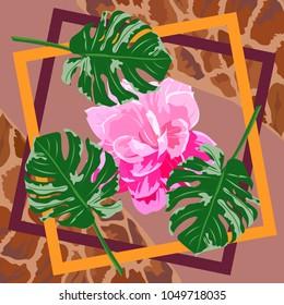 Square flower arrangement. Pattern for printing on scarves, postcards, carpets, bandanas, napkins, home textiles.Tropical print.