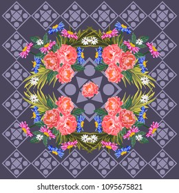 Square flower arrangement. Pattern for printing on scarves, postcards, carpets, bandanas, napkins, home textiles. Garden flowers and geometric ornament. Seamless.