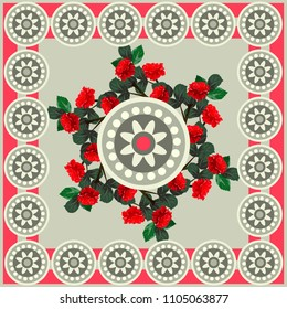 Square flower arrangement. Pattern for printing on scarves, postcards, carpets, bandanas, napkins, home textiles. Roses and geometric ornament. Seamless.