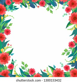 Square flower frame. Greeting card and Ecard vector banner invitation
