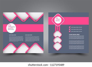 Square flyer design. A cover for brochure.  Website or advertisement banner template. Vector illustration. Purle and pink color.