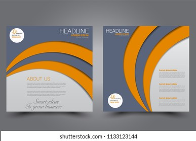 Square flyer design. A cover for brochure.  Website or advertisement banner template. Vector illustration. Grey and orange color.