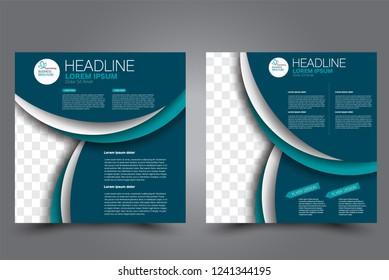 Square flyer design. A cover for brochure.  Website or advertisement banner template. Vector illustration. Blue color.