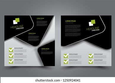 Square flyer design. A cover for brochure.  Website or advertisement banner template. Vector illustration. Black and green color.