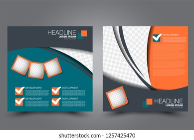 Square flyer design. A cover for brochure.  Website or advertisement banner template. Vector illustration.Green and orange color.