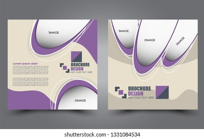Square flyer design. A cover for brochure.  Website or advertisement banner template. Vector illustration. Purple color.