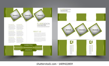 Square flyer design. A cover for brochure.  Website or advertisement banner template. Vector illustration. Green color.