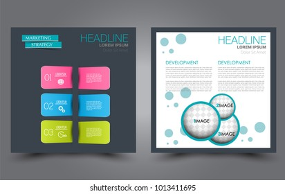 Square flyer template. Simple brochure design. For business and education. Vector illustration.