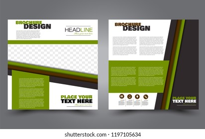 Square flyer template. Simple brochure design. Poster for business, education, advertisement, banner, ad banner. Green and brown color. Vector illustration.