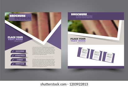 Square flyer template. Simple brochure design. Poster for business, education, advertisement, banner, ad banner. Purple color. Vector illustration.