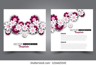 Square flyer template. Simple brochure design. Poster for business, education, advertisement, banner, ad banner. Pink color. Vector illustration.