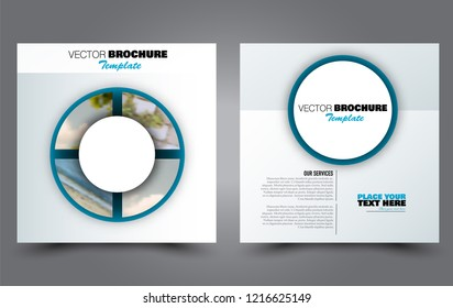 Square flyer template. Simple brochure design. Poster for business, education, advertisement, banner, ad banner. Blue color. Vector illustration.
