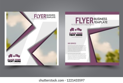 Square flyer template. Simple brochure design. Poster for business, education, advertisement, banner, ad banner. Purple color. Vector illustration.