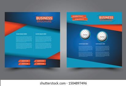 Square flyer template. Simple brochure design. Poster for business, education, advertisement, banner, ad banner. Vector illustration. Blue and orange color.