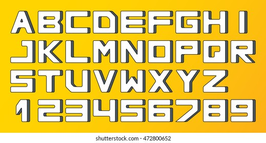 Square font, letters and numbers. Vector illustration. 3d style
