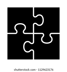 Square four pieces of jigsaw puzzle or teamwork concept flat vector icon for apps and websites