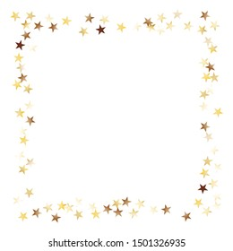 Square Frame of Big Star Confetti. Golden New Year Background. Bright Decoration for Holiday Banner Card Print. Realistic Glitter. Isolated NewYear Background. Vector.