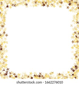 Square Frame of Big Star Confetti. Golden Party Background. Trendy Decoration for Holiday Poster Card Print. Realistic Glitter. Isolated Party Background. Vector.