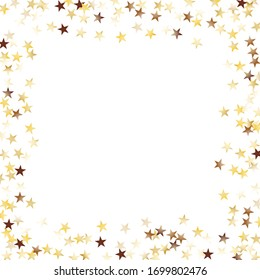 Square Frame of Big Star Confetti. Golden New Year Background. Festive Decoration for Holiday Cover Poster Wallpaper. Realistic Glitter. Isolated NewYear Background. Vector.