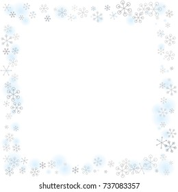 Square frame or border Christmas background with random scatter falling silver snowflakes and blue blurred dots isolated on white.