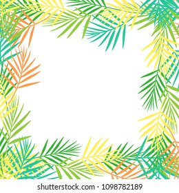 Square frame of bright abstract tropical leaves in flat style on white background. Postcard. Vector illustration