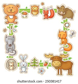 Square frame with cartoon forest animals, no gradients