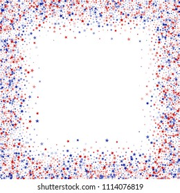 Square Frame of Confetti in Colors of American Flag. 4th of July Pattern Design. United States Texture. Business Presentation Stars Background.
