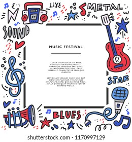 Square frame with different music symbols with place for text. Perfect music festival banner template.