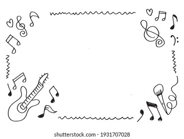 Square frame with doodle style different musical symbols with space for text.vector illustration.