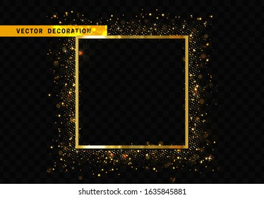 Square Frame with golden glitter by border. Realistic Holiday decoration. Black transparent background. Vector illustration