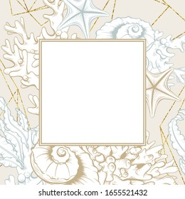Square Frame with Golden Seashells. Isolated vector poster with contour drawing sea shells for wedding design and thank you cards templates.