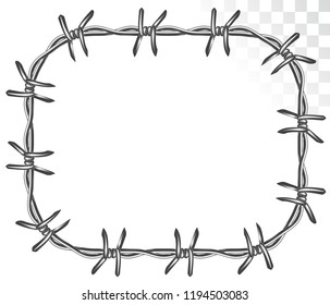 square frame of graphic barbed wire. isolated on transparent background