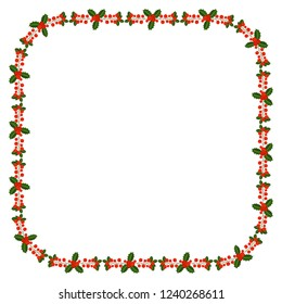 4203c10e6525 Square frame with Holly berry branch. Border for traditional ornamental  wreath from plants for greeting