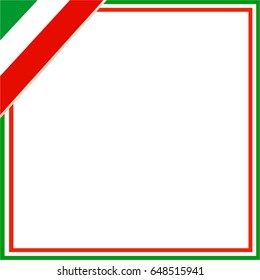 Square frame with Italian flag in the corner with blank space for your text and images.