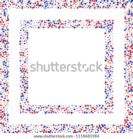 Square Frame Liberty Symbolic Stars Confetti Stock Vector (Royalty ...