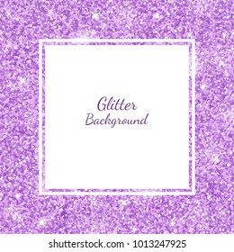 Square frame with lilac glitter. Vector