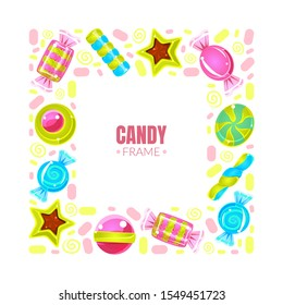 Square frame made of colorful sweets. Vector illustration.