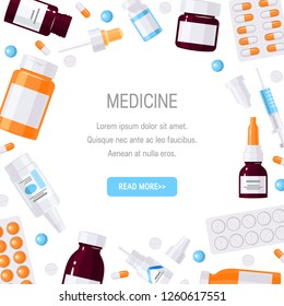 Square frame made of medicine items. Bottles with medications, pills and drops in flat style on white background. Vector template with clipping mask for web banner, flyer, poster etc.