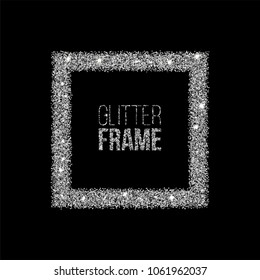 Square frame made of silver glitter isolated on black background. Vector silver frame.
