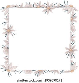 Square frame made of wild beige daisies. and green thin leaves. The frame has a place for the text.
