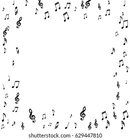 Square Frame of Music Notes Treble and Bass Clefs. Black Musical Symbols on White Background