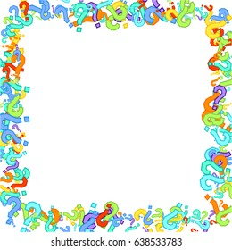Square frame on white background made of question marks. Multicolor question marks with colorful strokes. Vector illustration. Randomly scattered colorful question marks on white background.