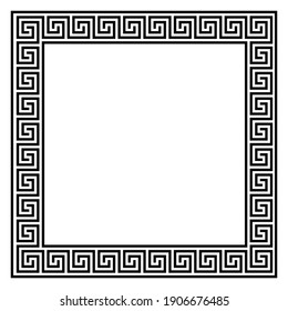 Square frame with seamless winding pattern. Meandros, decorative frames, are built from continuous lines, formed into repeated motifs. Greek fret or Greek key. Vector illustration.