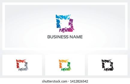 Square Frame Shatter Destroy Logo